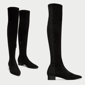 NWT ZARA Suede OVK Pointed Toe Combined Boots